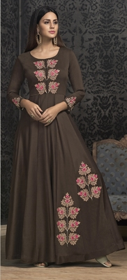 Brown embroidered silk salwar