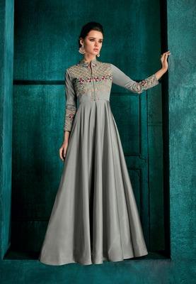 Silver embroidered silk salwar