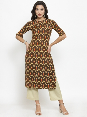 Brown Rayon Printed Straight Kurta With Ankle Length Trouser