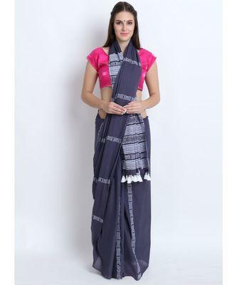Grey Hand Block Printed Cotton Malmal Saree With Contemporary Design & Yellow Tessels on Pallu