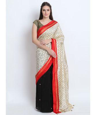 Cream Hand Woven Silk Ikkat & Black Hand Embroidered Silk Chanderi Saree(Half & Half)