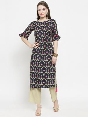 Indibelle Dark Blue Rayon Printed Straight Kurta With Ankle Length Trouser