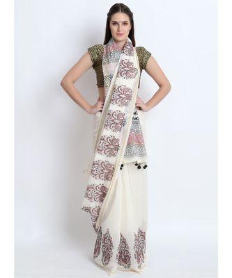 Off White Hand Block Printed Silk Chanderi Saree With Traditional Mughal Butah & Black Tessels On Pallu