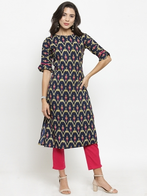 Dark Blue Rayon Printed Straight Kurta With Ankle Length Trouser