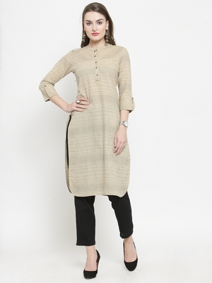 Beige Cotton Kantha Stitch Pathani Kurta With Ankle Length Trouser