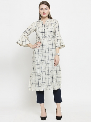 Off White Cotton Printed Straight Kurta With Ankle Length Trouser