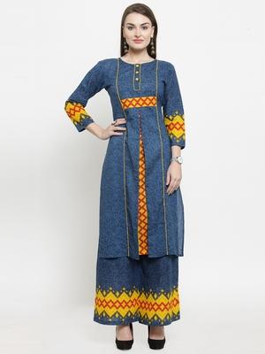 Indibelle Blue Cotton Printed Straight Kurta With Palazzos