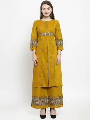 Yellow Cotton Printed Straight Kurta With Palazzos