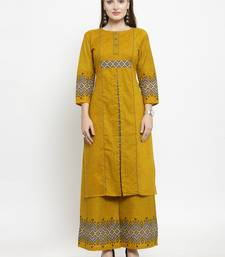 Indibelle Yellow Cotton Printed Straight Kurta With Palazzos