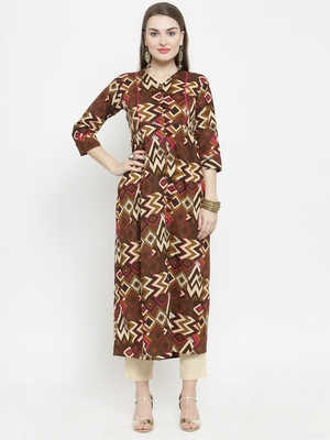 Brown Colour Cotton Chevron print straight kurta With Ankle Length Trouser
