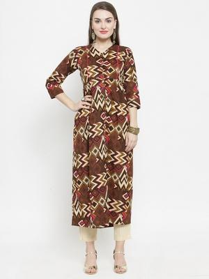 Indibelle Brown Colour Cotton Chevron print straight kurta With Ankle Length Trouser