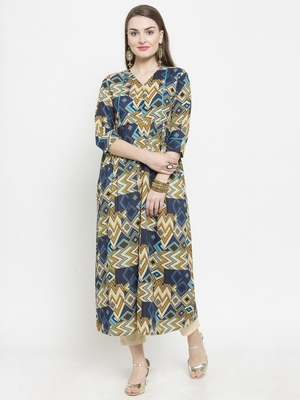 Indibelle Blue Colour Cotton Chevron print straight kurta With Ankle Length Trouser