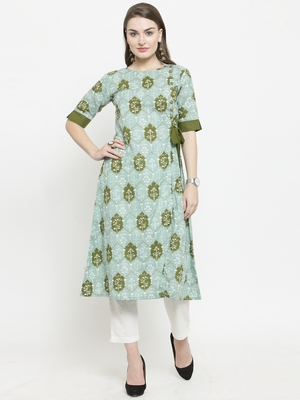 Mahendi Cotton Ethinic Print Straight Kurta With Ankle Length Trouser