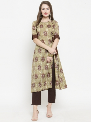 Olive Cotton Ethinic Print Straight Kurta With Ankle Length Trouser