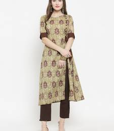 Indibelle Olive Cotton Ethinic Print Straight Kurta With Ankle Length Trouser