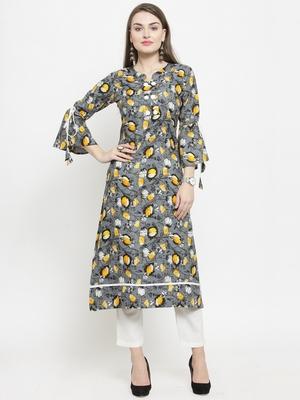 Grey Rayon Flower Print Straight Kurta With Ankle Length Trouser