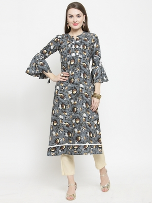 Grey Rayon Flower Print Straight Kurta With Ankle Length Trouser