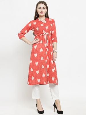 Gajri Cotton Printed A-Line kurta With Ankle Length Trouser
