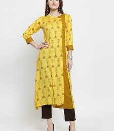 Yellow Rayon Printed A-Line kurta With Ankle Length Trouser