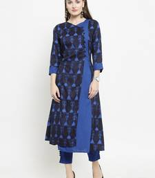 Dark Blue Rayon Printed A-Line kurta With Ankle Length Trouser