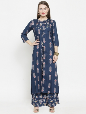 Blue Rayon Double Layer Printed A-Line kurta With Palazzos