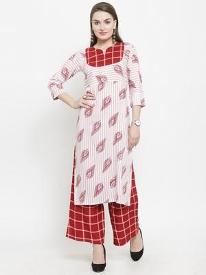 Maroon Rayon Printed Straight kurta With Palazzos