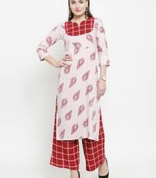 Indibelle Maroon Rayon Printed Straight kurta With Palazzos