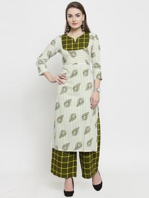 Indibelle Green Rayon Printed Straight kurta  With Palazzos