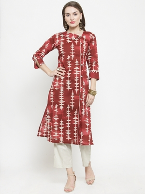 Maroon Cotton Printed Straight Kurta With Ankle Length Trouser