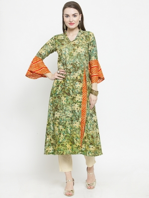 Olive Rayon Printed A-Line Kurta With Ankle Length Trouser