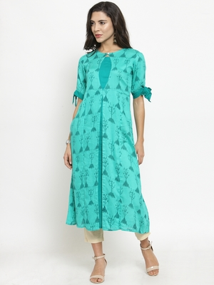 Indibelle Teal Rayon Printed A-Line Kurta With Ankle Length Trouser