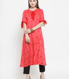 Indibelle Gajri Rayon Printed A-Line Kurta With Ankle Length Trouser