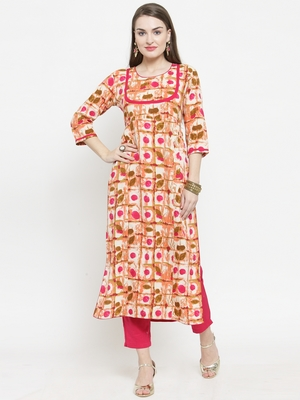 Indibelle Pink Rayon Printed Straight Kurta With Ankle Length Trouser