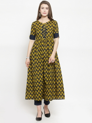 Blue Cotton Booti Print A-line Kurta With Ankle Length Trouser