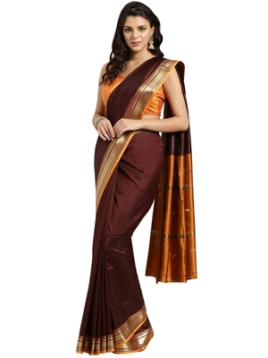 Brown woven art silk saree with blouse
