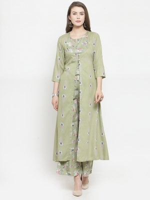 Pista Rayon Double Layer Printed A-Line kurta With Palazzos