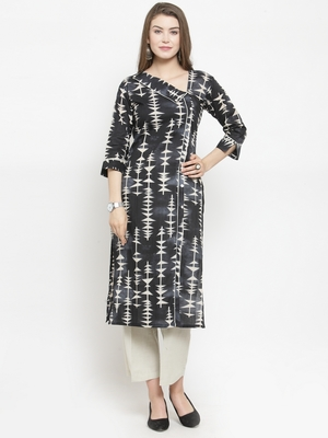 Indibelle Black Cotton Printed Straight Kurta With Ankle Length Trouser