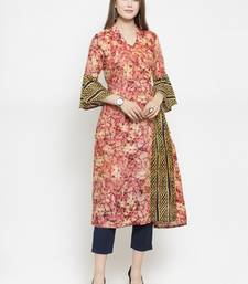 Wine Rayon Printed A-Line Kurta With Ankle Length Trouser