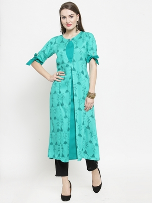 Teal Rayon Printed A-Line Kurta With Ankle Length Trouser