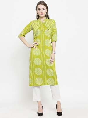 Lemon Green Rayon Straight Kurta With Jacket With Ankle Length Trouser