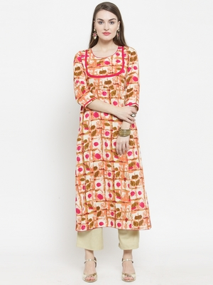 Pink Rayon Printed Straight Kurta With Ankle Length Trouser