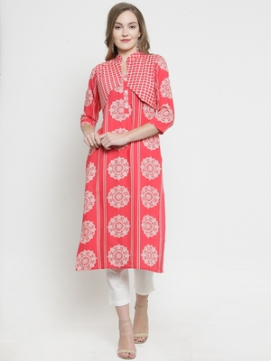 Indibelle Pink Rayon Printed Straight Kurta With Short Jacket With Trouser