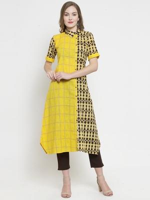 Indibelle Yellow Cotton Slub Double Print A-line Kurta With Trouser