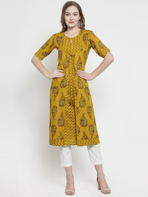 Mustard Rayon Print Double Layer Straight Kurta With Trouser