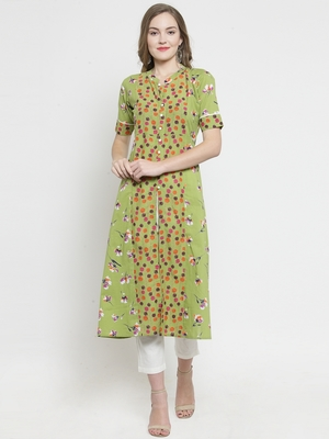 Indibelle yellow Green Cotton Double Florel Print A-line Kurta With Trouser
