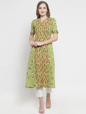 yellow Green Cotton Double Florel Print A-line Kurta With Trouser