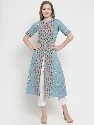 Indibelle Sky Blue Cotton Double Florel Print A-line Kurta With Trouser