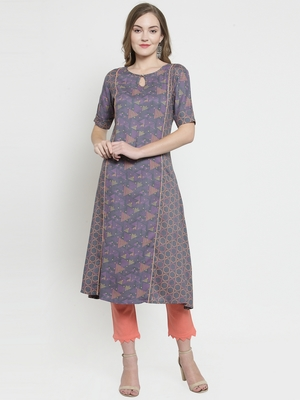 Grey Rayon Double Printed A-line Kurta With Trouser