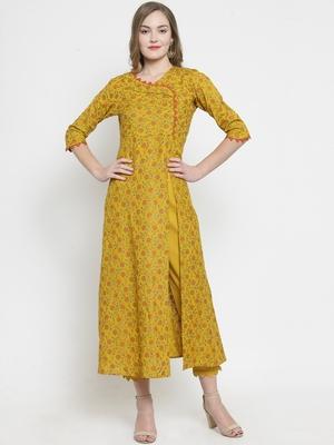 Mustard Rayon Slub Florel Gold Print A-line Kurta With Trouser