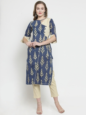 Blue Cotton Slub Leaf Print Straight Kurta With trouser
